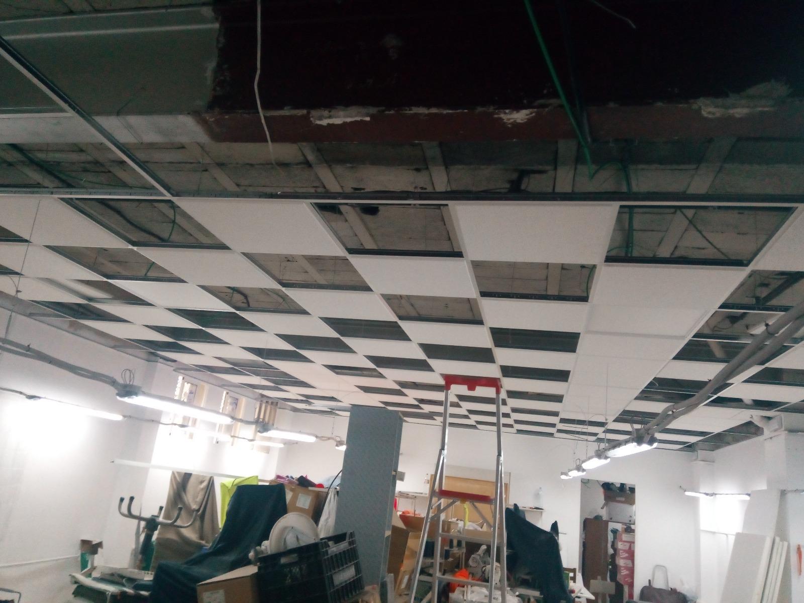 techo e instalación eléctrica taller textil